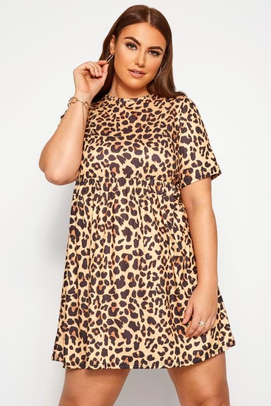 Plus Size Casual Dresses LIMITED COLLECTION Brown Leopard Print Jersey Smock Dress