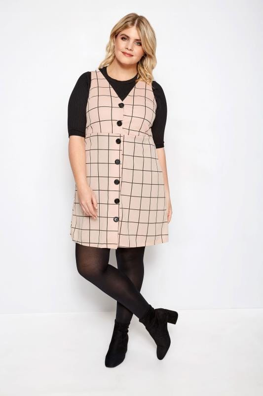 Light Pink Check Buttoned Pinafore Dress
