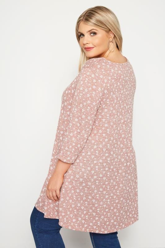 Light Pink Ditsy Floral Tunic Top