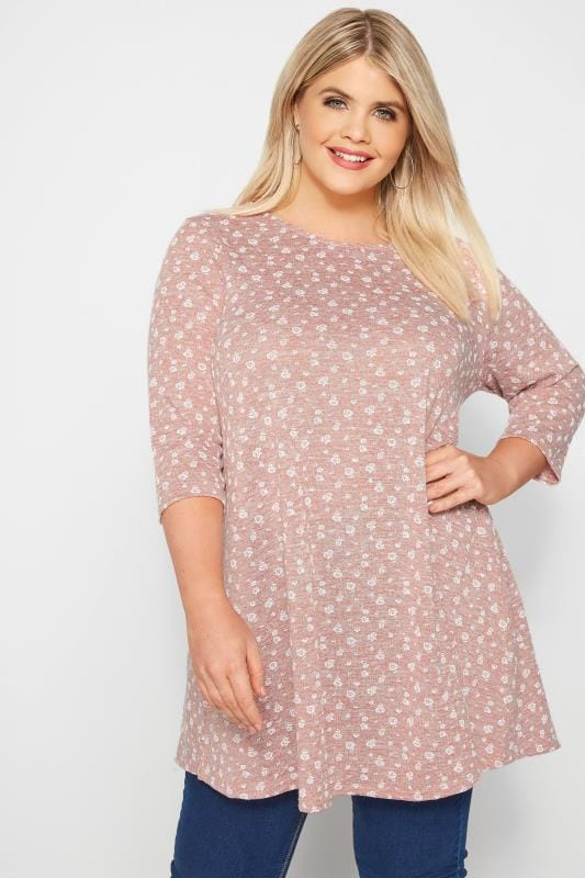 Plus Size Tunics Light Pink Ditsy Floral Tunic Top