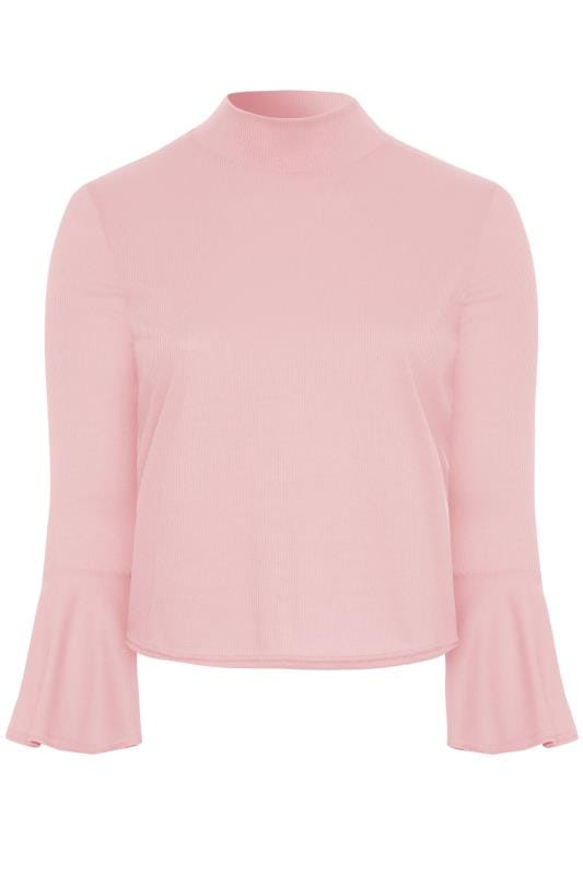 LIMITED COLLECTION Light Pink Ribbed Flute Sleeve Top