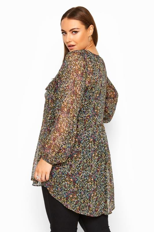 LIMITED COLLECTION Multi Ditsy Floral Balloon Sleeve Chiffon Blouse