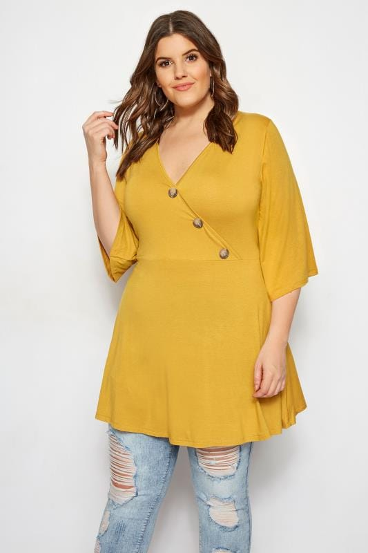 Mustard Button Wrap Top