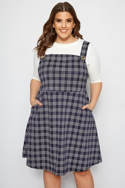 LIMITED COLLECTION Navy Check Pinafore Dress