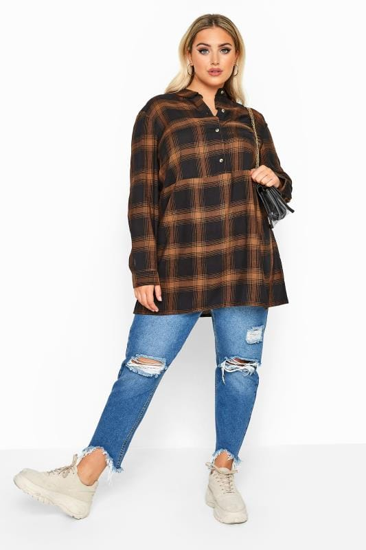 LIMITED COLLECTION Navy & Orange Oversized Overhead Check Shirt