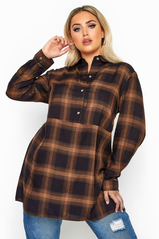 Plus Size Shirts LIMITED COLLECTION Navy & Orange Oversized Overhead Check Shirt