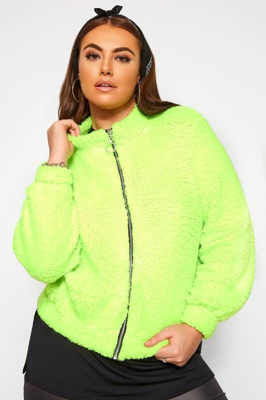 Plus Size Fleeces LIMITED COLLECTION Neon Green Teddy Fleece
