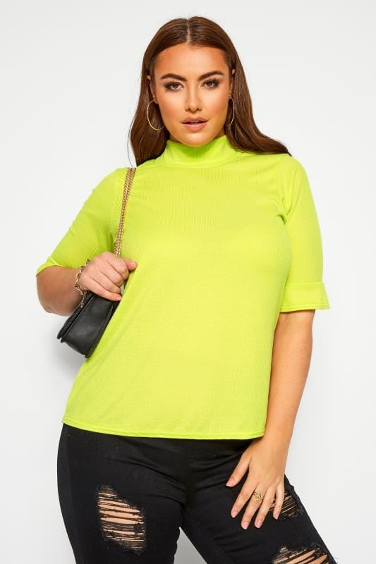 LIMITED COLLECTION Neon Lime Green Ribbed Flare Sleeve Top