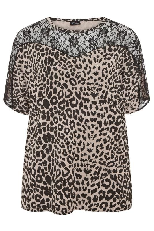 LIMITED COLLECTION Nude Animal Print Lace Insert Top