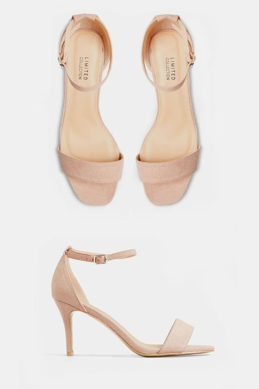 LIMITED COLLECTION - Suède sandalen met hak en open teen in nude