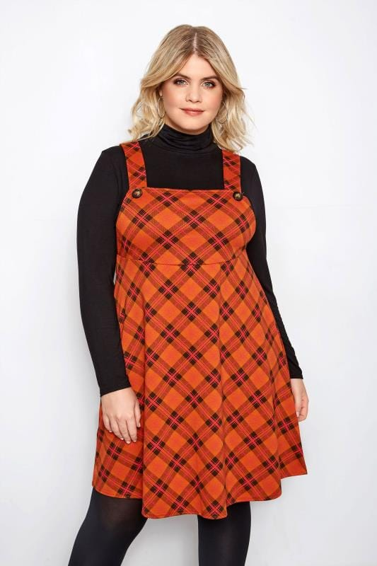 LIMITED COLLECTION Orange Check Pinafore Dress