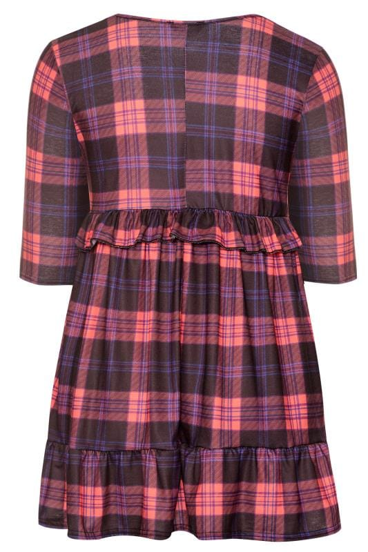 LIMITED COLLECTION Pink Check Double Layer Jersey Smock Dress