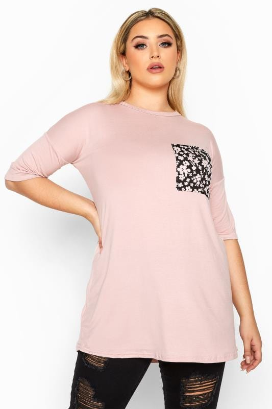 Plus Size Day Tops LIMITED COLLECTION Pink Ditsy Pocket T-Shirt