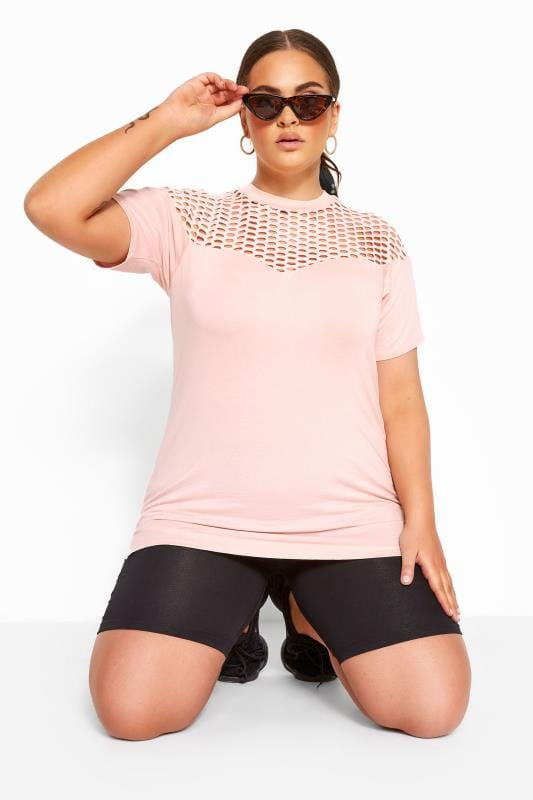 T-Shirts Grande Taille LIMITED COLLECTION Pink Fishnet Insert Top