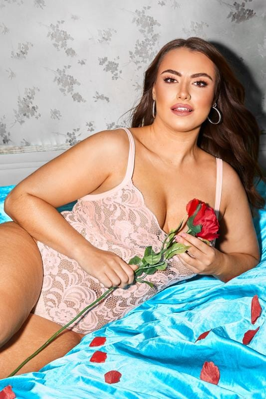 Plus Size Sexy Lingerie LIMITED COLLECTION Pink Lace Body