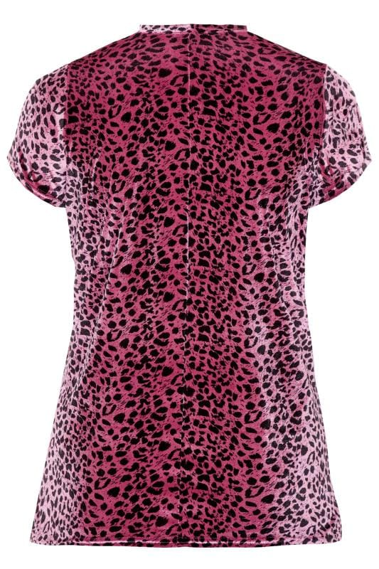LIMITED COLLECTION Velours-Top mit Choker-Kragen - Rosa Leo-Muster