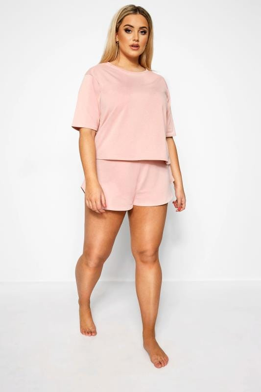 Plus Size Jersey Shorts LIMITED COLLECTION Pink Lounge Shorts