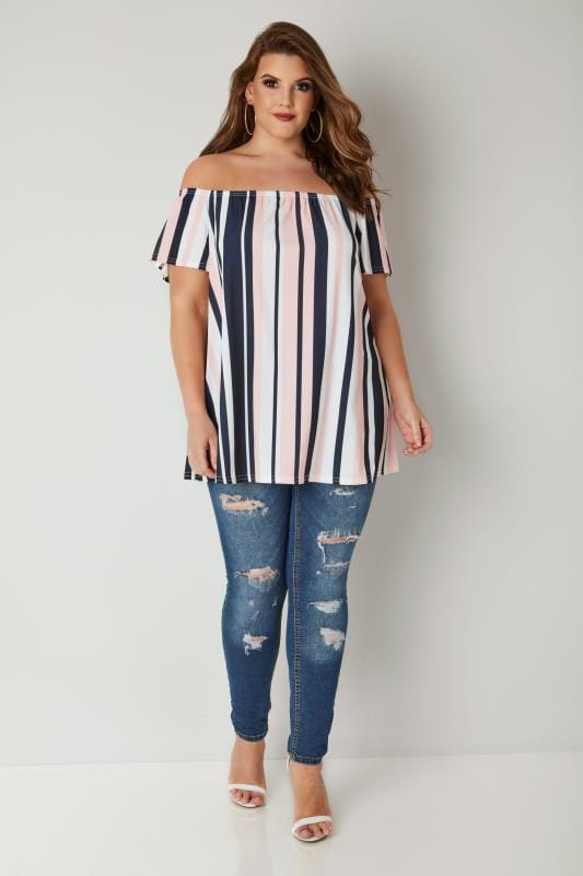 LIMITED COLLECTION Pink, Navy & White Bardot Top