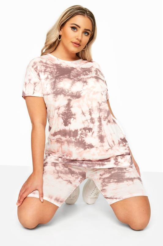 Plus Size Fashion Shorts LIMITED COLLECTION Pink Tie Dye Cycling Shorts