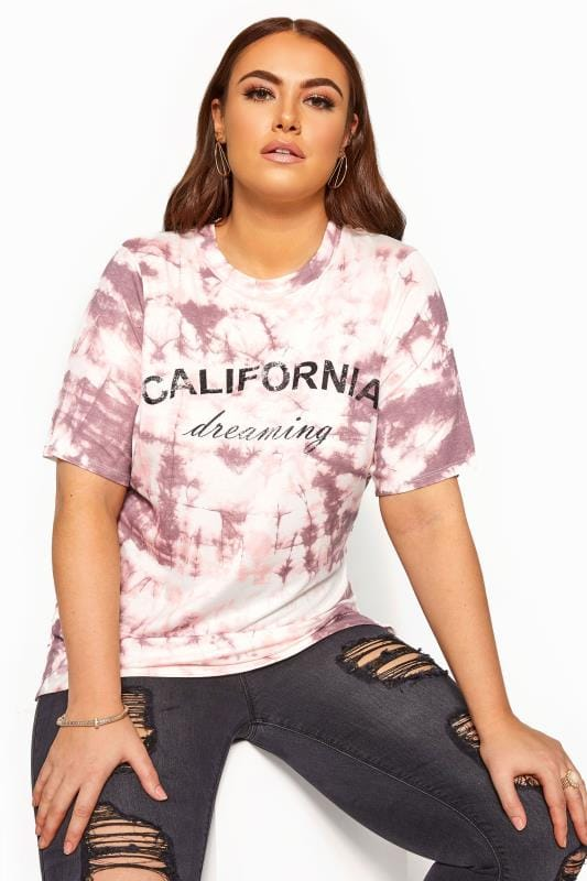 Plus Size T-Shirts LIMITED COLLECTION Pink Tie Dye Slogan T-Shirt