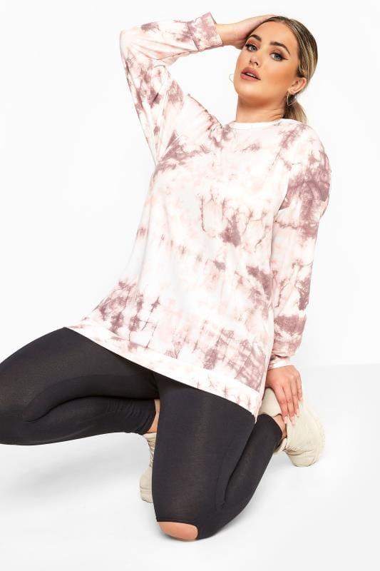 Plus Size Sweatshirts & Hoodies LIMITED COLLECTION Pink Tie Dye Sweatshirt