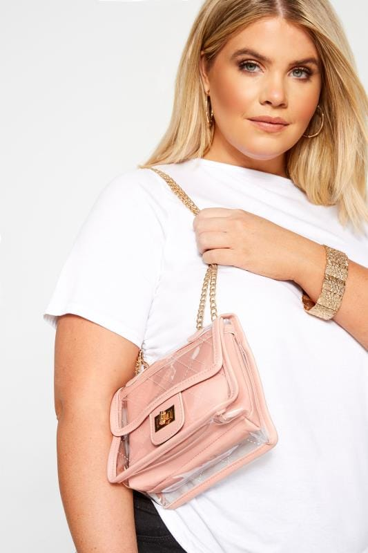 Cross Body Bags LIMITED COLLECTION Pink Trim Clear PU Bag