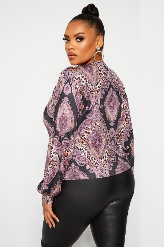 LIMITED COLLECTION Gerafftes Paisley Top - Lila