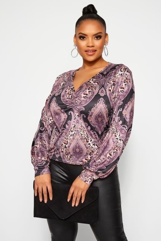 Plus Size Party Tops LIMITED COLLECTION Purple Mixed Print Ruched Top