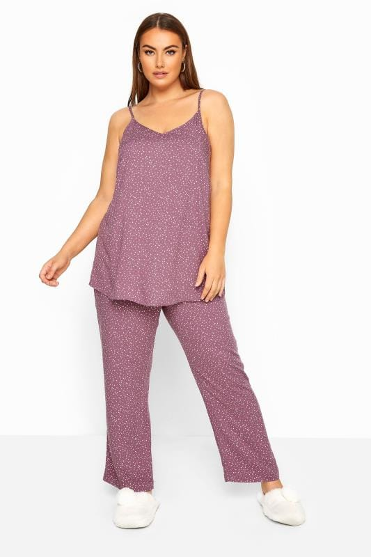 Plus Size Pyjamas LIMITED COLLECTION Purple Star Wide Leg Pyjama Bottoms