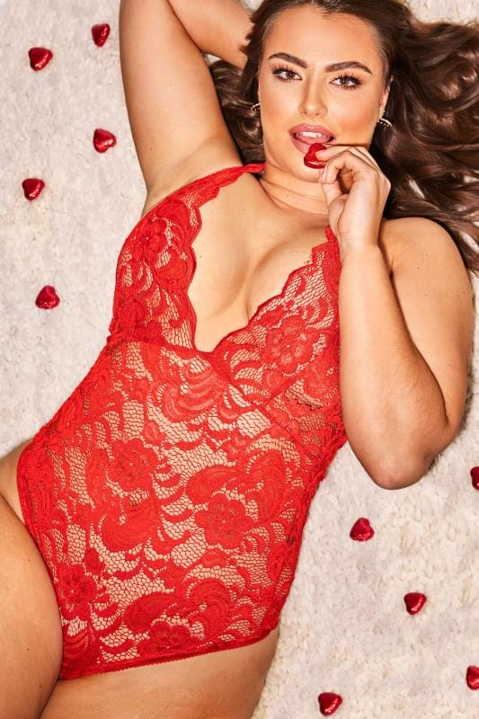 Plus Size Sexy Lingerie LIMITED COLLECTION Red Halter Neck Lace Body
