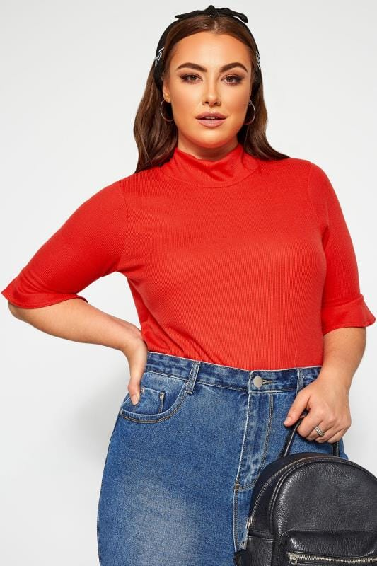 Plus Size Jersey Tops LIMITED COLLECTION Red Ribbed Flare Sleeve Top