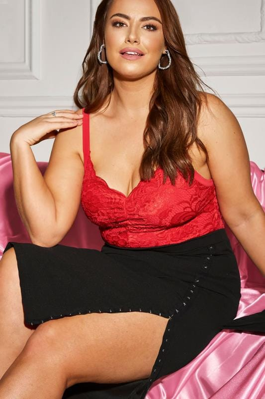LIMITED COLLECTION Red Scalloped Lace Bodysuit