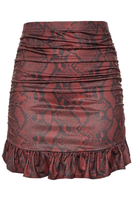 LIMITED COLLECTION Red Snake Print Ruched Skirt