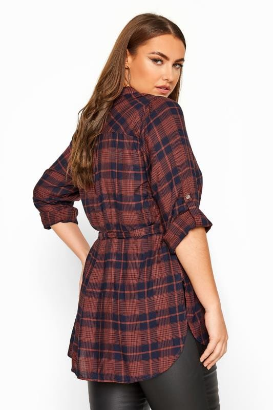 LIMITED COLLECTION Rust & Navy Belted Check Shirt