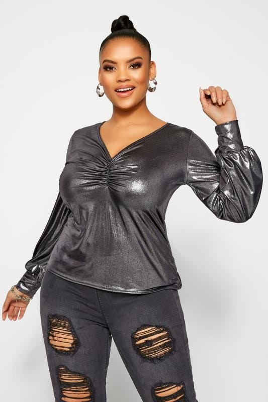 Plus Size Party Tops LIMITED COLLECTION Silver Metallic Ruched Front Top