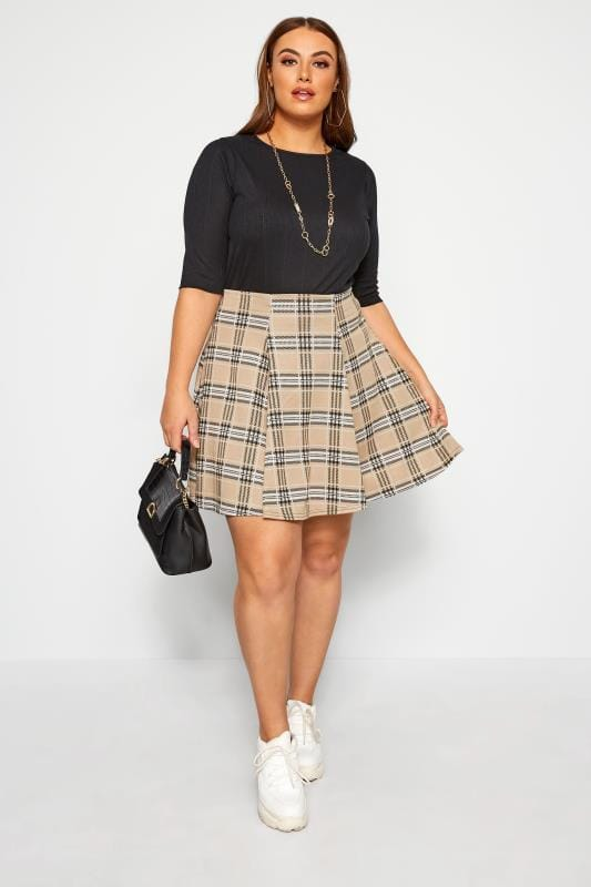 Plus Size Skater Skirts LIMITED COLLECTION Stone Check Print Skater Skirt