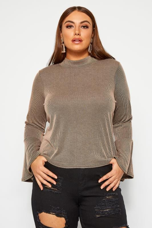 LIMITED COLLECTION Stone Ribbed Flare Long Sleeve Top