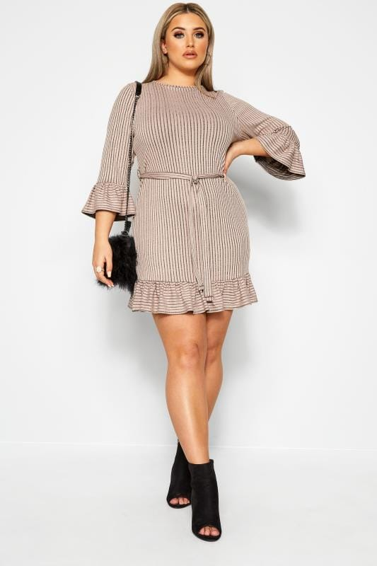 Plus Size Sleeved Dresses LIMITED COLLECTION Stone Ribbed Frill Dress