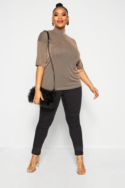 Plus Size Jersey Tops LIMITED COLLECTION Stone Ribbed High Neck Top