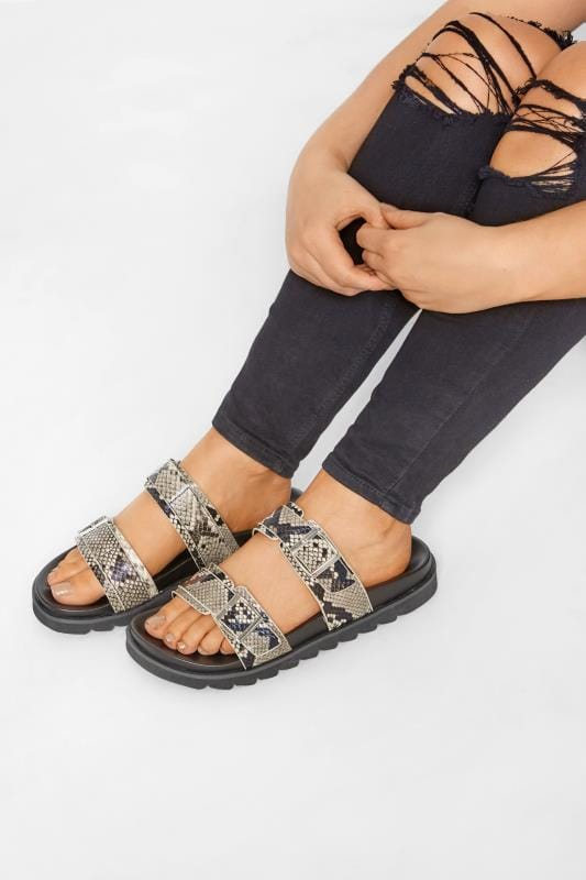 Wide Fit Sandals LIMITED COLLECTION Stone Snake Print Buckle Sliders In Extra Wide Fit