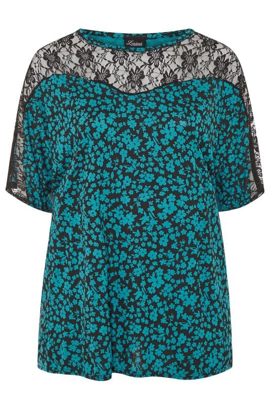 LIMITED COLLECTION Teal Blue Floral Lace Insert Top