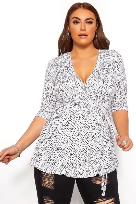 Plus Size Wrap Tops LIMITED COLLECTION White Ditsy Daisy Print Wrap Top