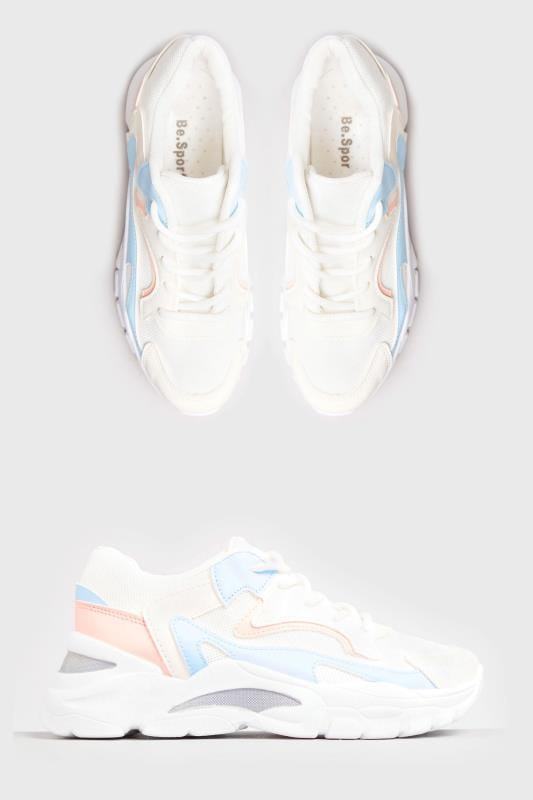 Plus Size Shoes LIMITED COLLECTION White Pastel Sporty Chunky Trainers In Standard Fit