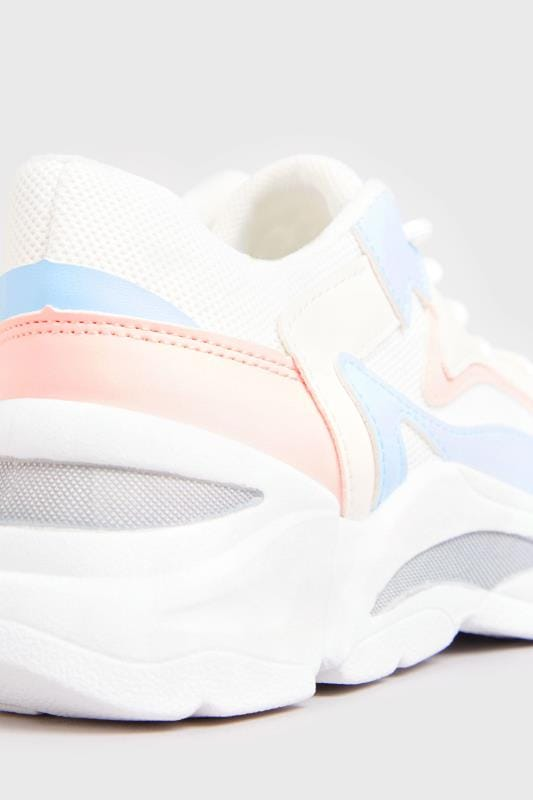 White Pastel Sporty Chunky Trainers