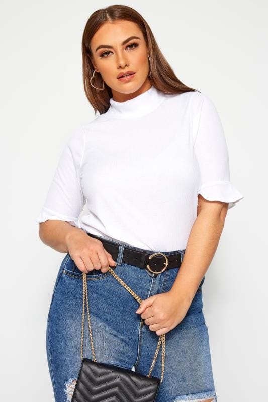 Plus Size Jersey Tops LIMITED COLLECTION White Ribbed Flare Sleeve Top