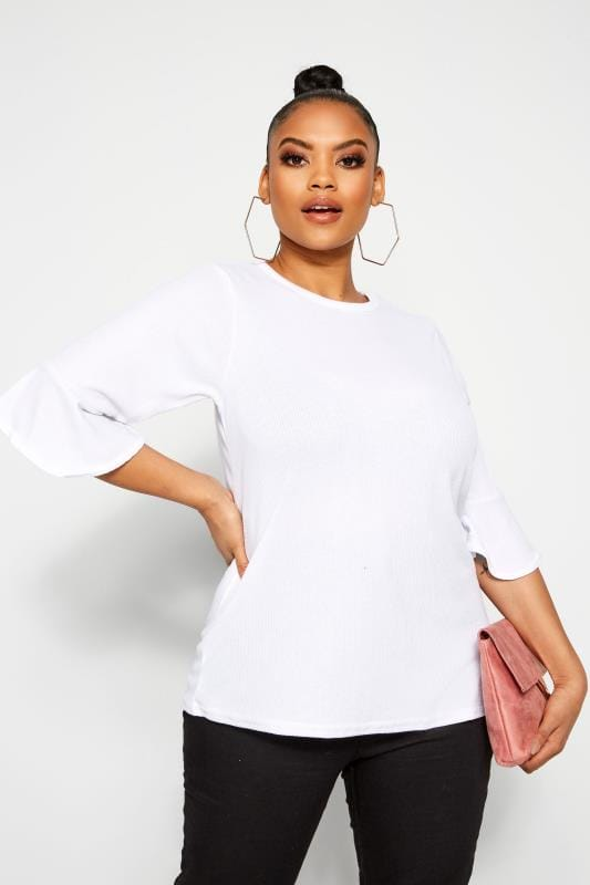 Plus Size Day Tops LIMITED COLLECTION White Ribbed Scoop Neck Top