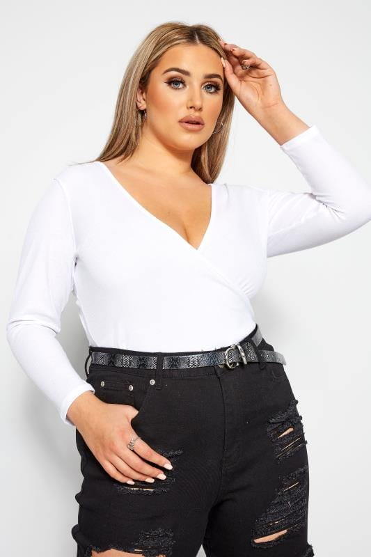Plus Size Wrap Tops LIMITED COLLECTION White Ribbed Wrap Top
