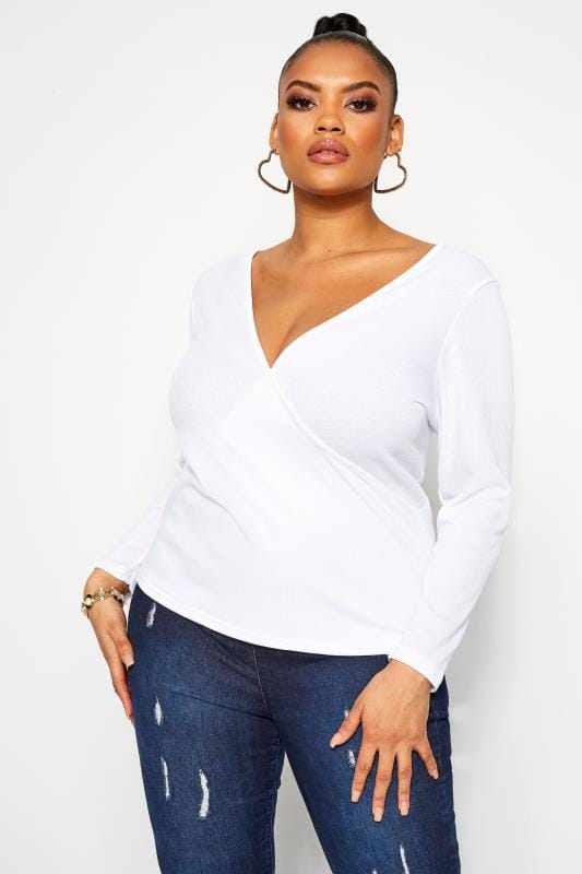 Большие размеры | Wrap Tops LIMITED COLLECTION White Ribbed Wrap Top