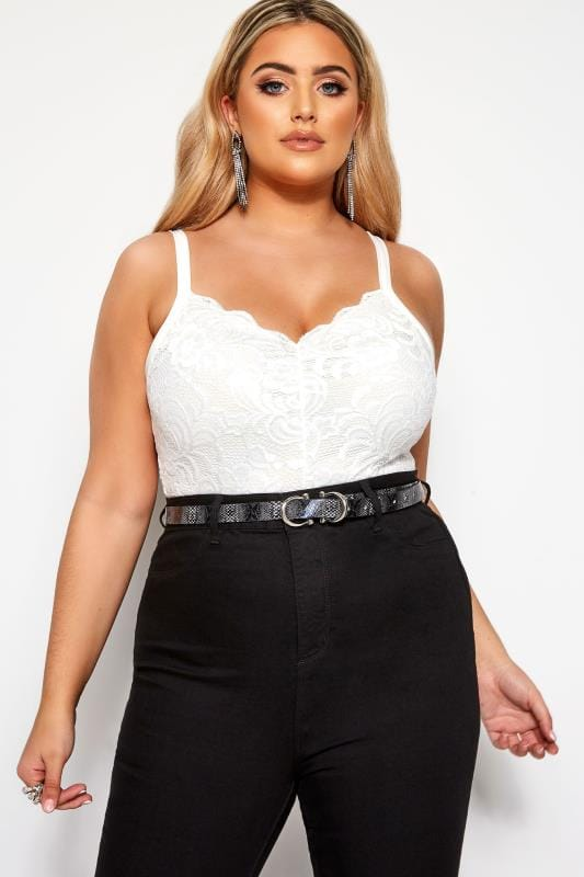 Plus Size Lace Tops LIMITED COLLECTION White Scalloped Lace Bodysuit