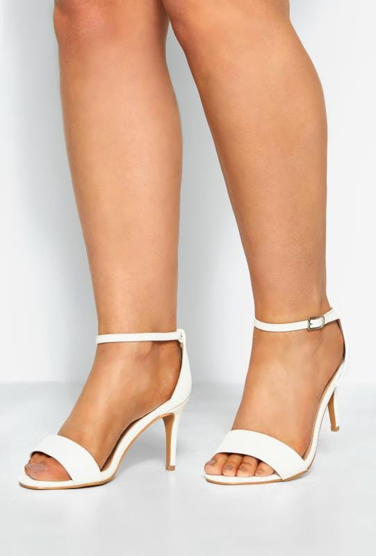 Wide Fit Heels LIMITED COLLECTION White Strappy Heels In Extra Wide Fit